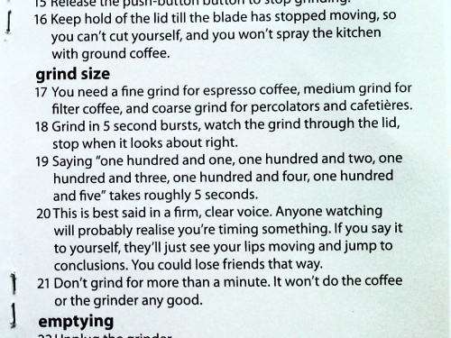 Extract from Russell Hobbs instruction manual