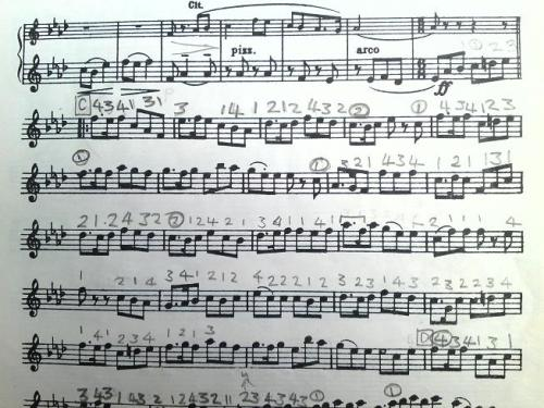 Part of a page of violin music, with fingerings written over virtually every note